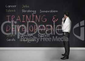 Training and development terms written on a blackboard