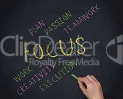 Hand writing the word focus