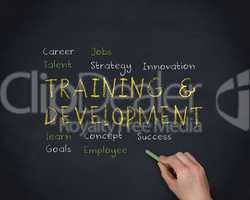 Hand writing training and development with a chalk