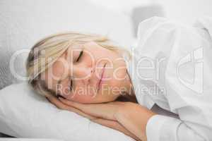Blonde woman sleeping peacefully