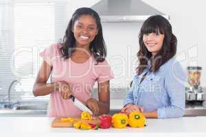 Cheerful friends preparing vegetables