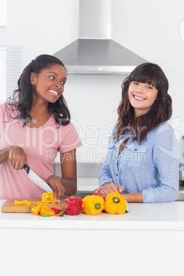 Pretty friends preparing vegetables