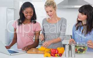 Cheerful friends making salad and using laptop for recipe