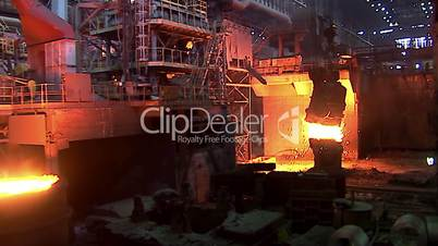 Iron and Steel Works. Pouring of molten iron