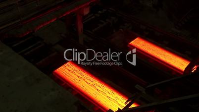 Hot rolled steel. Fresh cast hot metal slab.