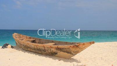 zanzibar fishing boat on a tropical beach