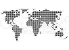 Pixelweltkarte mit Markierung von Berlin