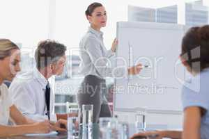 Businesswoman showing a chart on a whiteboard