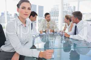 Brunette businesswoman in a meeting