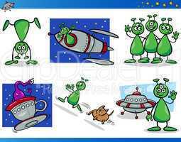 aliens or martians cartoon characters set