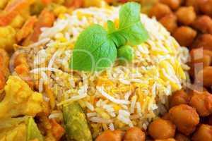 Vegetarian biryani rice close up