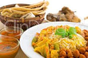 Biryani rice and chapati