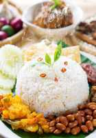 Nasi lemak with fresh hot steam