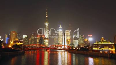 Time lapse of Shanghai Garden Bridge skyline at night