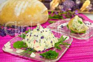 Delicious herb butter and bread.