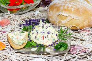 Delicious herb butter served with bread