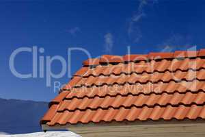 roof tiles against ski slope in nice day