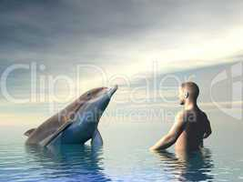 Dolphin and man - 3D render