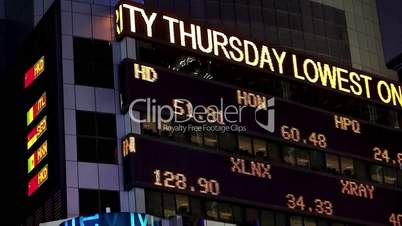 Stock exchange Forex quotes on the LED panel (Forex news).