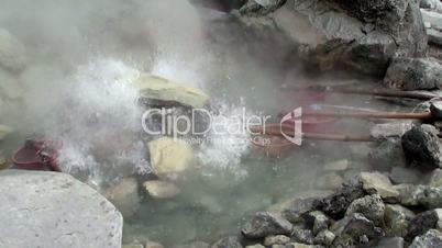 Cooking eggs in a volcanic geyser.