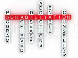 Rehabilitation medical message concept.