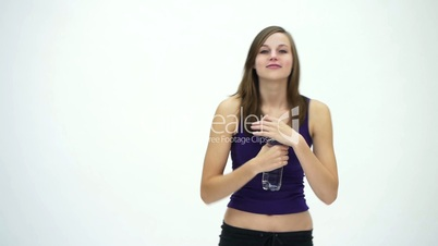 HD1080 Slim fitness girl holding bottle of water
