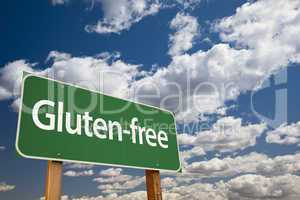 Gluten free Green Road Sign and Clouds