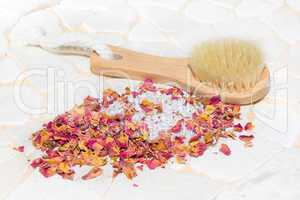 Bath salts and rose petal potpourri