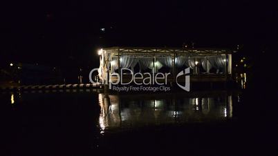 Relaxation building near beach in night illumination on turkish resort, Fethiye, Turkey