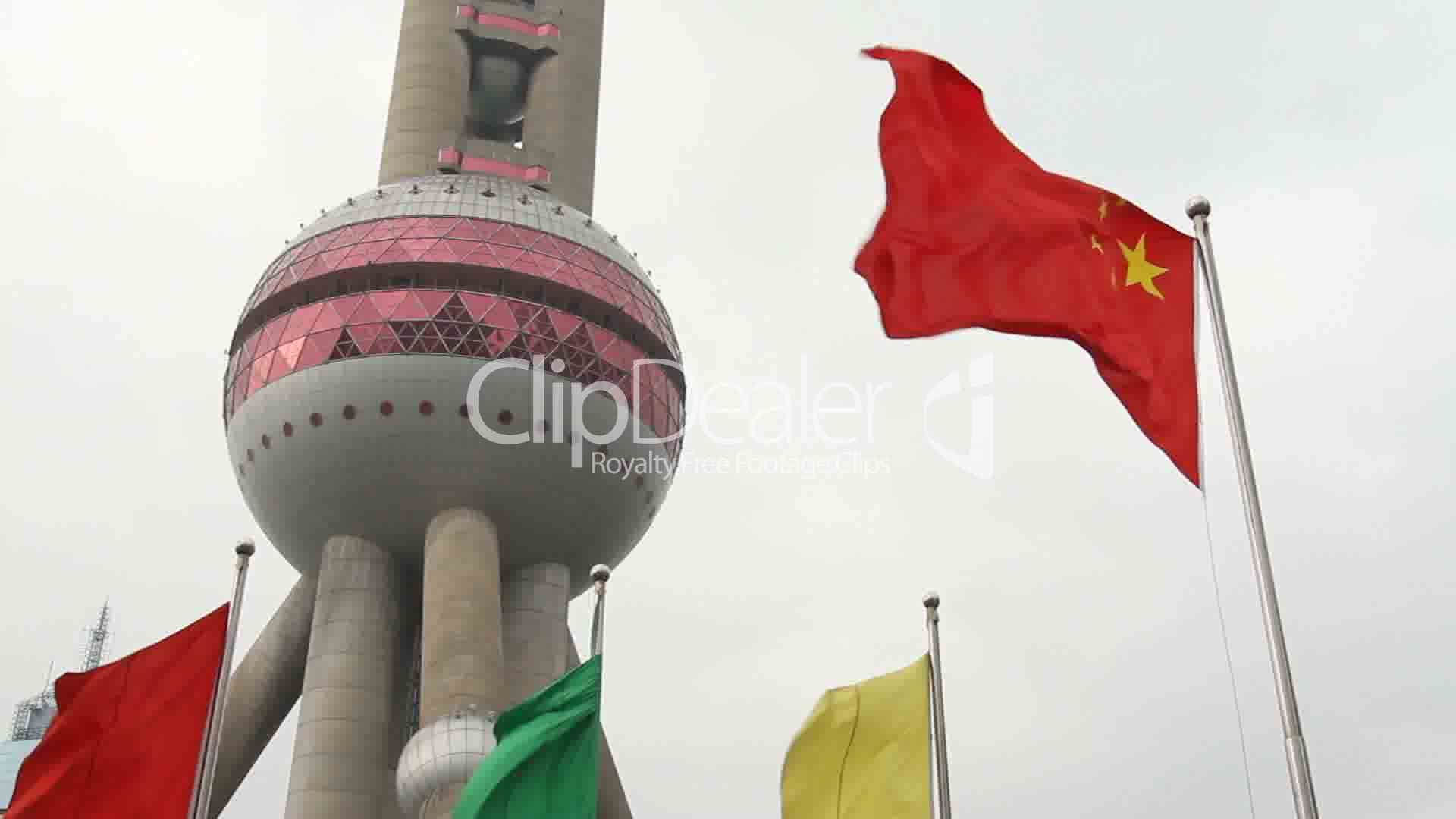 Shanghai Oriental Pearl Tv Tower And China National Flag