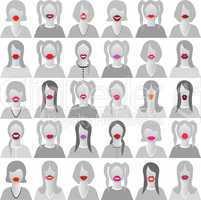 Lip set icons isolated set movember