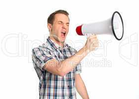 Junger Mann mit Megafon