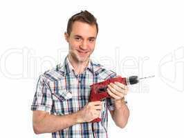 Handwerker mit Akkuschrauber