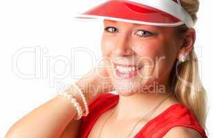 Blonde Frau mit Sonnencap