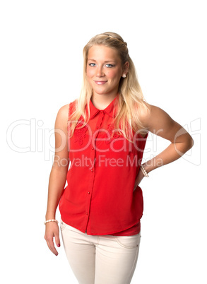 Blonde Frau in roter Bluse