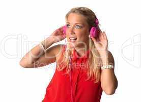Blonde Frau mit  Kopfhörer