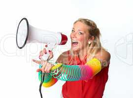 Blonde Frau mit  Megafon