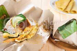 Malaysian rice nasi lemak.
