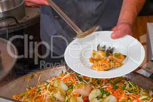 vegetables with sea fruits