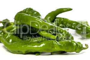 Green peppers with water drops