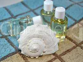 Conch sea and natural oils on bath towel