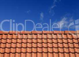 roof tiles against blue sky