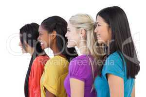 Diverse young women looking in the same direction