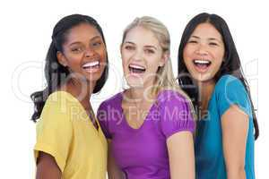 Diverse laughing women looking at camera