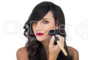 Glamorous brunette applying blusher