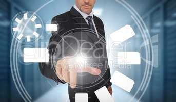 Businessman using wheel interface