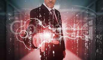 Businessman selecting futuristic key graphic