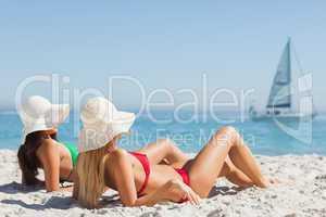 Attractive women in bikinis tanning