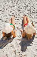 Attractive blonde and brunette in bikinis having beer