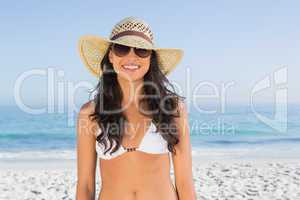 Smiling attractive brunette with straw hat and sunglasses